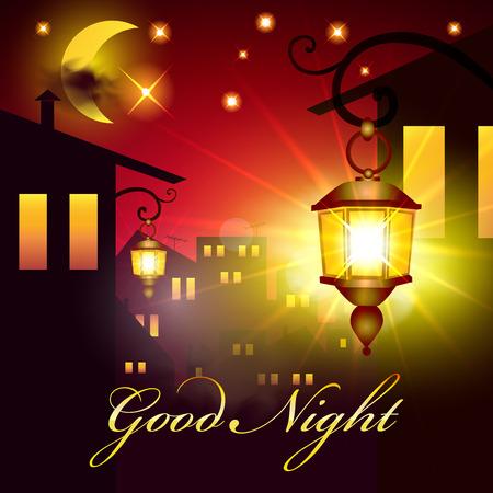 좋은 밤 벡터 카드. 랜턴과 하우스 밤. 달과 별 밤 마을 배경입니다.