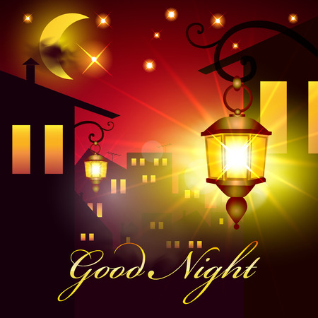 dreams of city: Good Night Vector Card. Lantern and Houses in night. Night Town Background with Moon and Stars.