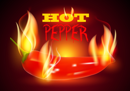 spicy: Hot Chili Pepper in Fire. Flaming Hot Pepper. Burning Red Chili Pepper. Spicy Hot Pepper. Illustration