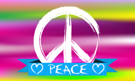 woodstock: Hand Drawn White Peace Sign. Illustration of peace sign on colorful background.