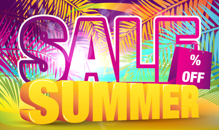summer sale: Colorful Summer Sale Banner - Vector Illustration. Super Summer Sale Card.