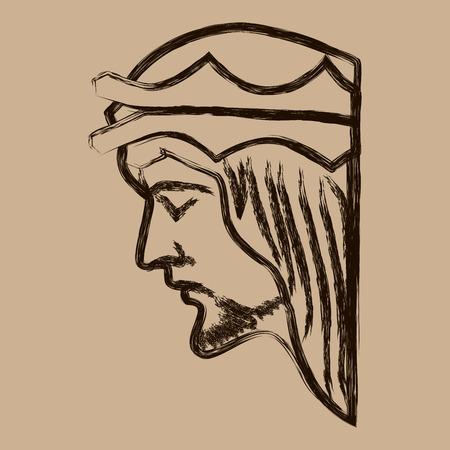 Jesus Christ Hand Drawn Vector Illustration. Face of Jesus. Sketch of jesus christ.