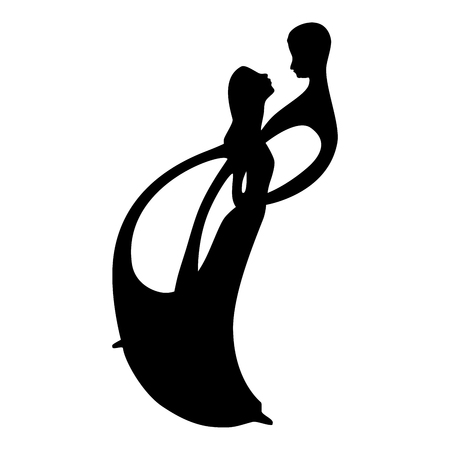 Two lovers dance silhouette. Two lovers vector illustration. Silhouettes of a dancing couple. Romantic couple.