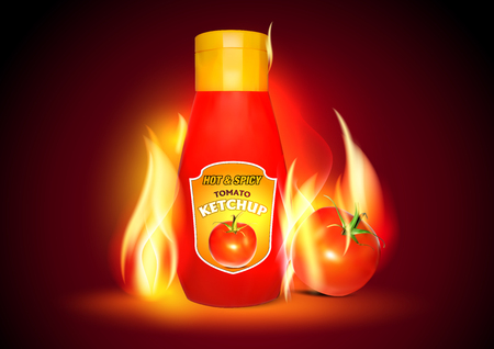 spicy: Realistic Tomato Ketchup Bottle. Spicy Tomato Hot Ketchup Plastic Bottle.