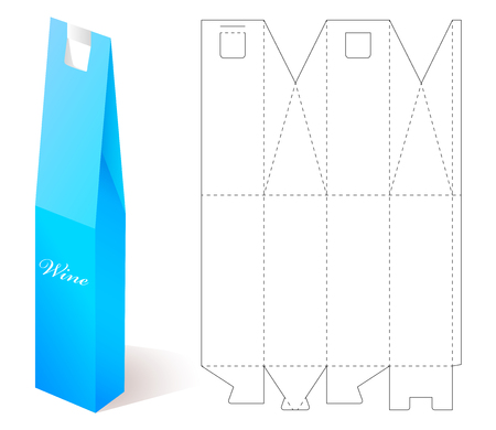 Wine Paper Box With Blueprint Template. Vector Wine Bottle Box ...