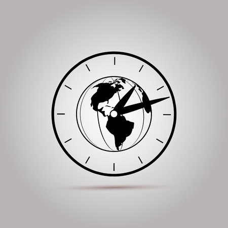 time zone: World Time Icon Vector. Time Zone Icon. Time Zone Clocks. World time flat sign icon. Illustration