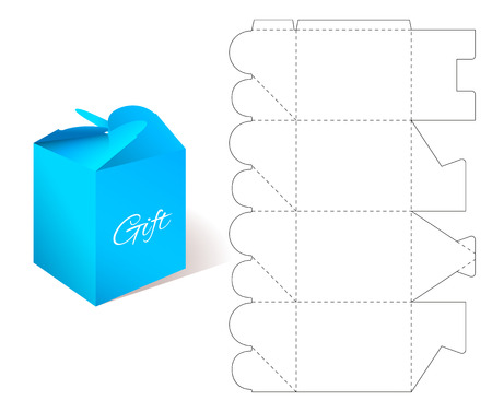 Paper Box. Gift Paper Box with Blueprint Template. Illustration of Gift craft Box for Design. Mockup Box Template. Cardboard Box with DIe-cut Pattern. Illustration