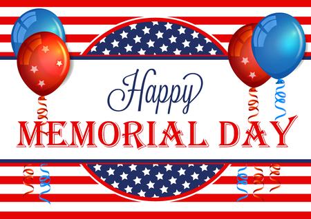 Glückliche Memorial Day Banner. Memorial Day Hintergrund Vorlage mit amerikanischer Flagge. Patriotischer Hintergrund. Standard-Bild - 56484054