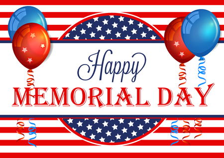 Happy Memorial Day Banner. Memorial Day Background Template with American Flag. Patriotic Background.