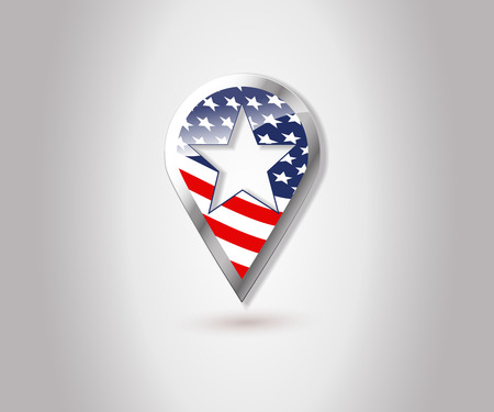 USA flag location map pin icon. Map marker.