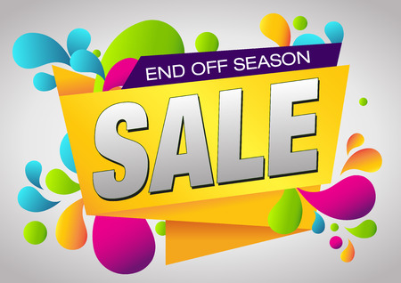 end of summer: Sale End Off Season . Summer Sale and Clearance Card. Sale and Discounts Background. Illustration