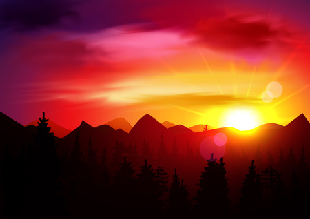 panorama: Sunset Mountains Landscape. Nature Background Template. Panorama. Illustration