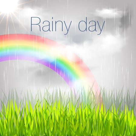 rainy day: Rainy Day Banner. Rainy Day with Rainbow Illustration.