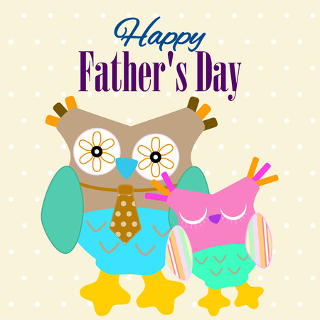 owl illustration: Fathers Day Card. Happy Fathers Day Banner. Fathers Day Greeting.