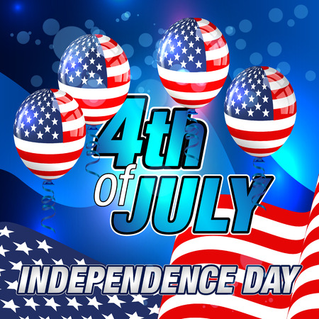 4th of july: 4th July Card. Happy 4th July. Fourth of July Banner. 4th of July Celebration. Happy Independence Day. Illustration