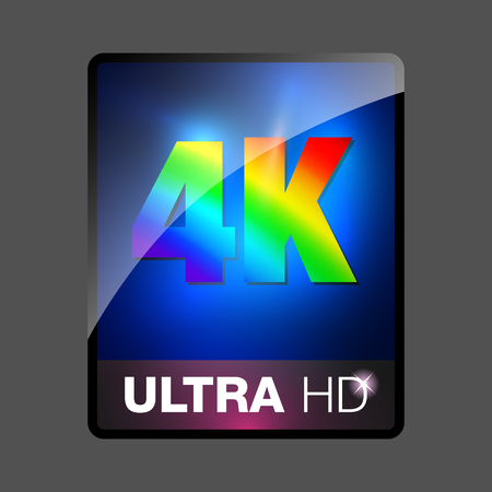 high definition: 4K ultra HD sign. 4K video icon, ultra high definition, vector illustration. 4K ultra HD web button.