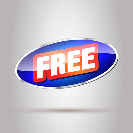 free button: Free. Big Free Button. Free Tag, Badge, Sticker. Blue Button with Red Free Text. Illustration