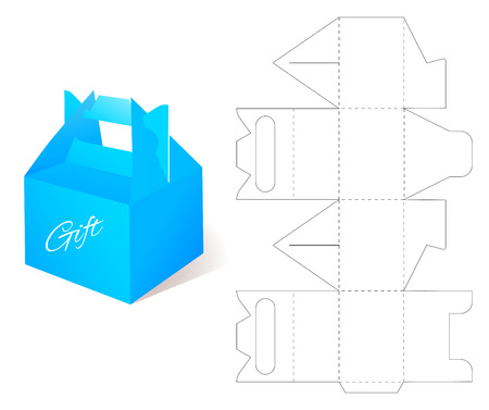 Paper box gift paper box with blueprint template illustration 59401400 box with die cut template packing box for gift or other products malvernweather Image collections