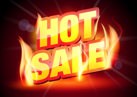 hot sale: Sale Offer.  Hot Sale Banner. Discounts Background. Sale Text in Flames. Illustration