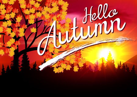 Autumn. Autumn Landscape Banner with Forest . Autumn Sunset Card. Autumn Mountains.
