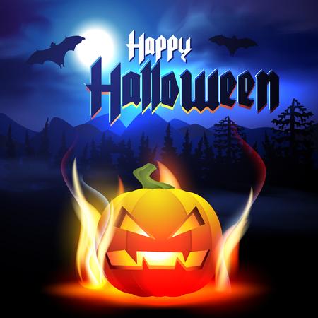 halloween background: Happy Halloween Card with Pumpkin. Halloween Background.