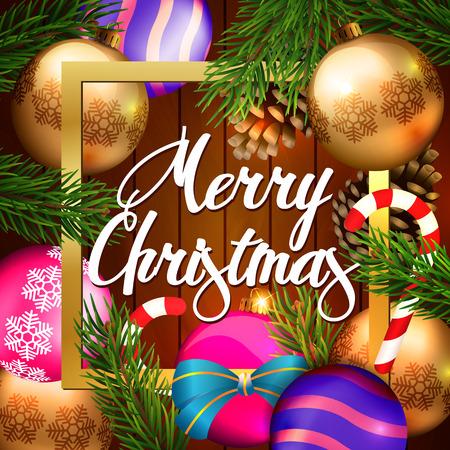 Christmas Card with Balls Illustration