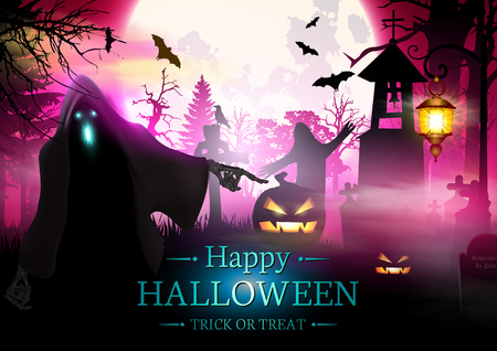 Happy halloween background with scary ghost