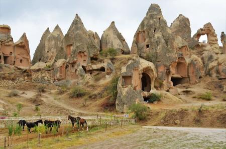 plan �loign�: Long shot of the honeycomb FORMED stones in Cappadocia