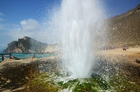 blowhole: Close-up of an erupting blowhole at Al Mughsail beach in Oman Stock Photo