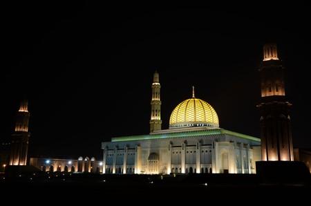 plan éloigné: Frappe de la Grande Mosquée du Sultan Qaboos à Mascate, Oman Banque d'images