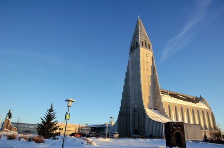 low angles: Hallgrimskirkja church in Reykjavik during a nice sunny day in winter Stock Photo