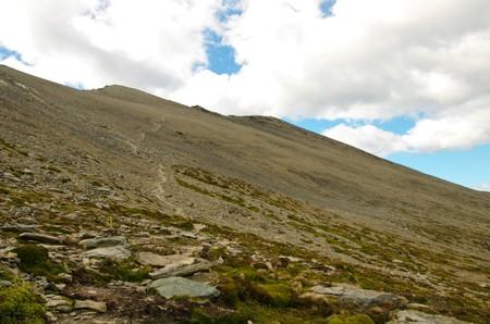 tierra: View up to Cerro Guanaco peak in the Tierra del Fuego National Park. Stock Photo