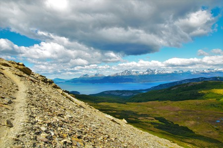 cerro: Panoramic view from the Cerro Guanaco in the Tierra del Fuego National Park. Stock Photo