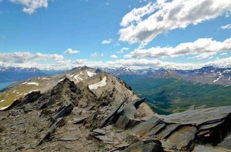 fuego: Panoramic view from the Cerro Guanaco in the Tierra del Fuego National Park. Stock Photo