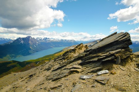 tierra: Panoramic view from the Cerro Guanaco in the Tierra del Fuego National Park. Stock Photo