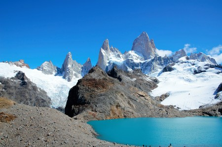 fitz: Panoramic view of the Fitz Roy mountain range in El Chalta  n in Argentina