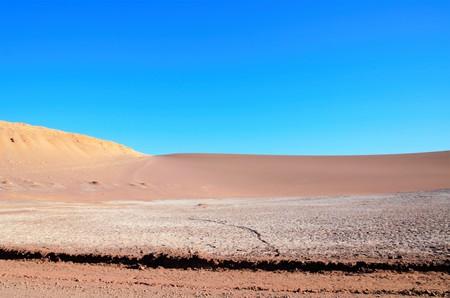 Panoramic view of the Moon Valley or Valle de la Luna close to San Pedro de Atacama in Chile, South America