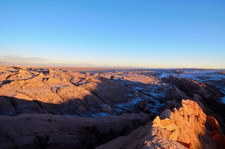 Panoramic view of the Moon Valley or Valle de la Luna close to San Pedro de Atacama in Chile, South America during sunset