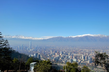 cerro: Panoramic view of Santiago de Chile from Cerro San Cristobal with the Andes in the background in Chile, South America