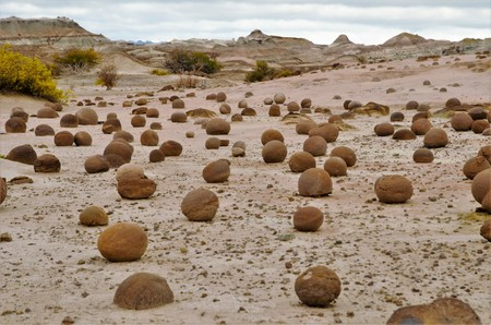 Long shot of the field of balls in the nature reserve Ischigualasto also called Valle de la Luna in the area San Juan in Argentina, South America 스톡 콘텐츠