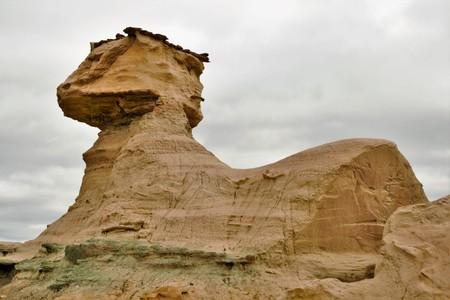 돌 형성의 긴 총 자연 보호구에서 스핑크스 Ischigualasto라고도 Valle 드 라 루나 영역에서 산 후안 아르헨티나, 남아메리카 스톡 콘텐츠 - 73391396