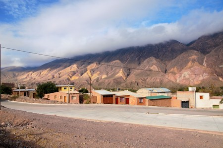 siete: Long shot of the Cerro de los siete colores or the hill of seven colors in Humahuaca in Argentina, South America Stock Photo