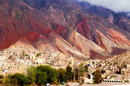 cerro: Long shot of the Cerro de los siete colores or the hill of seven colors in Humahuaca in Argentina, South America Stock Photo