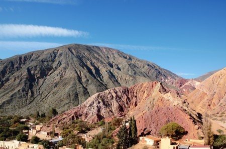 Long shot of the seven color hill or cerro de los siete colores in the village Purmamarca in the canyon quebrada de humahuaca in Jujuy, Argentina, South America