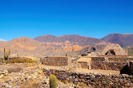 Pucara de Tilcara is an archaeological site of the Inca located in the Quebrada de Humahuaca a mountain valley in the area Jujuy in Argentina Stock Photo