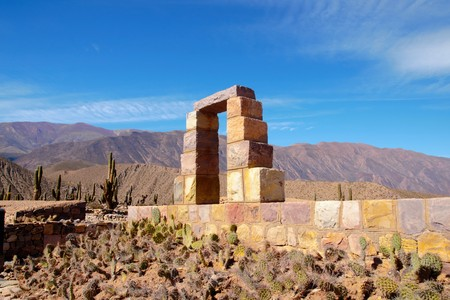 archeological: Pucara de Tilcara is an archaeological site of the Inca located in the Quebrada de Humahuaca a mountain valley in the area Jujuy in Argentina Stock Photo