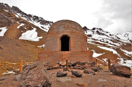 Long shot of the village las Cuevas close to Mendoza on the border to Chile in Argentina, South America