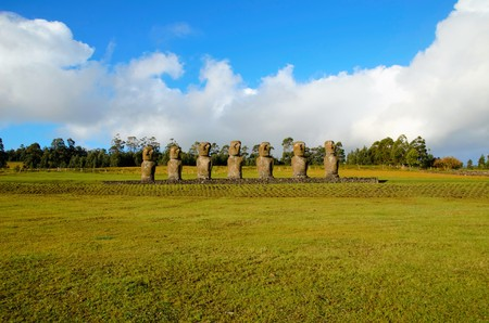 Long shot of the seven Moai at Ahu Akivi in Rapa Nui Easter Island in Chile, South America