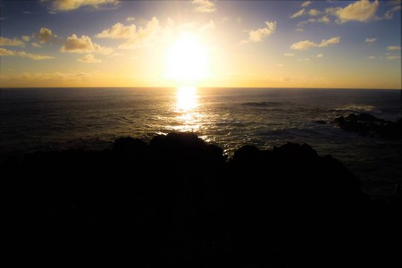 rapanui: Long shot of the Moai during sunset at Ahu Tahai in Hanga Roa in Rapa Nui, Easter Island, Chile, South America