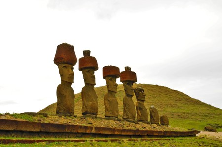Shot of the Moai statues at Anakena Beach in Easter Island, Rapa Nui, Chile, South America Stock Photo